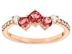 Pink Tourmaline And White Diamond 14k Rose Gold 3-Stone Ring 0.55ctw
