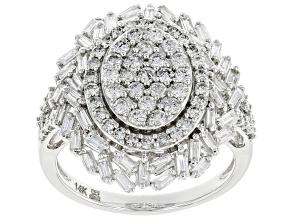 White Diamond 14k White Gold Cluster Ring 1.50ctw