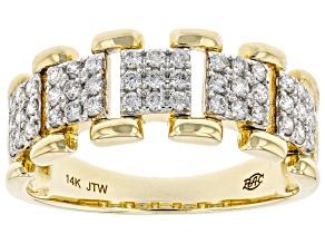 White Diamond 14k Yellow Gold Link Band Ring 0.50ctw
