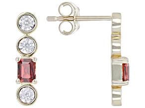 Red Garnet & White Diamond 14k Yellow Gold Drop Earrings 0.60ctw