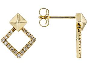 White Diamond 14K Yellow Gold Drop Earrings 0.20ctw