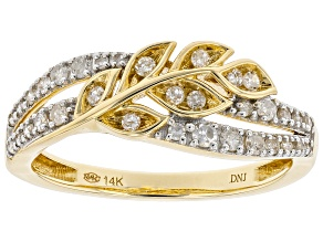 White Diamond 14K Yellow Gold Floral Inspired Crossover Ring 0.33ctw