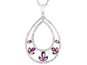 Grape Color Garnet And White Diamond 14k White Gold Pendant With Chain 1.62ctw
