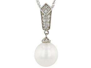 White Cultured South Sea Pearl & White Diamond 14k White Gold Dangle Pendant 0.12ctw