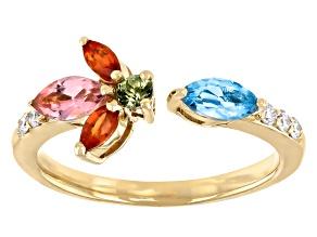 Orange & Green Sapphire, Pink Tourmaline, Swiss Blue Topaz & Diamond 14k Yellow Gold Ring 0.76ctw