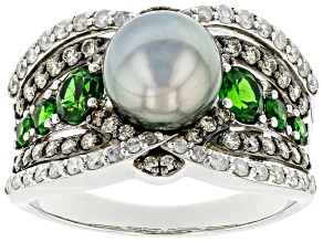 Cultured Tahitian Pearl, Chrome Diopside And Champagne And White Diamond 14k White Gold Ring 1.54ctw