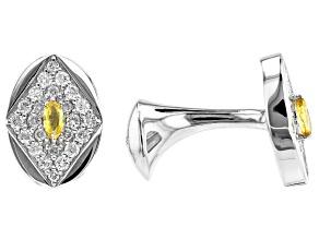 Yellow Sapphire And White Diamond 14k White Gold Cufflinks 0.78ctw