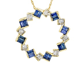 Blue Sapphire and White Diamond 14k Yellow Gold Pendant 0.92ctw