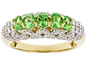 Green Tsavorite Garnet & White Diamond 14k Yellow Gold Band Ring 1.28ctw