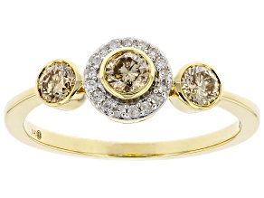 Champagne And White Diamond 14k Yellow Gold Three-Stone Ring 0.53ctw