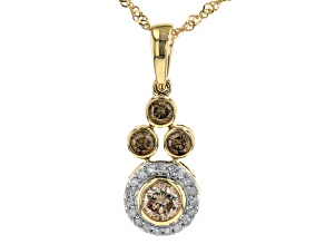 Champagne And White Diamond 14k Yellow Gold Pendant With Chain 0.51ctw