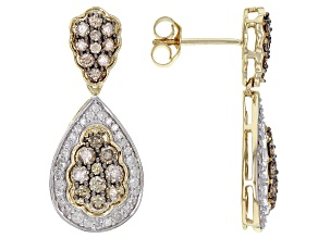 Champagne And White Diamond 14K Yellow Gold Dangle Earrings 1.40ctw