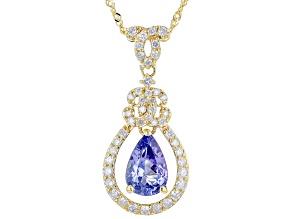 "Blue Tanzanite And White Diamond 14k Yellow Gold Teardrop Pendant With 18"" Singapore Chain 1.31ctw"