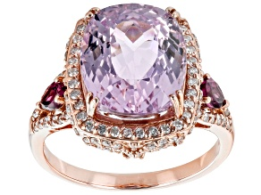 Pink Kunzite, Raspberry Color Rhodolite And White Diamond 14k Rose Gold Center Design Ring 6.85ctw