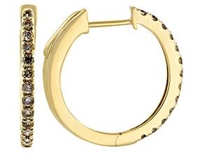 Champagne Diamond 14k Yellow Gold Hoop Earrings 0.33ctw