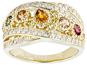 Multi-Color Sapphire & White Diamond 14k Yellow Gold Crossover Band Ring 1.18ctw