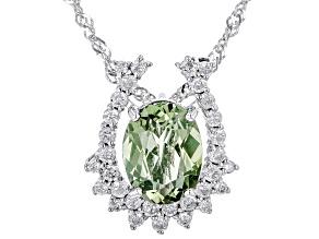 "Green Tourmaline And White Diamond 14k White Gold Pendant With 18"" Singapore Chain 1.33ctw"
