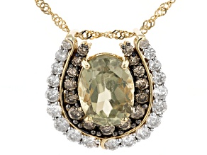 """Green Diaspore With White And Champagne Diamond 14k Yellow Gold Pendant With 18"""" Chain 2.66ctw"""