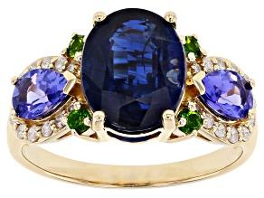 Blue Kyanite, Blue Tanzanite, Green Chrome Diopside And White Diamond 14k Yellow Gold Ring 4.05ctw