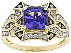 Blue Tanzanite With White And Champagne Diamond 14k Yellow Gold Center Design Ring 1.84ctw