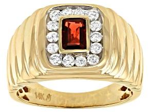 Red Garnet And White Diamond 14k Yellow Gold Mens Ring 1.10ctw