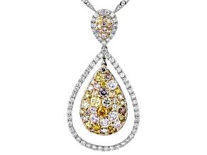 Multi-Color Diamond 14k White Gold Cluster Pendant With Singapore Chain 1.75ctw