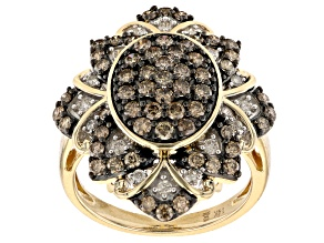Champagne And White Diamond 14k Yellow Gold Cluster Ring 1.50ctw