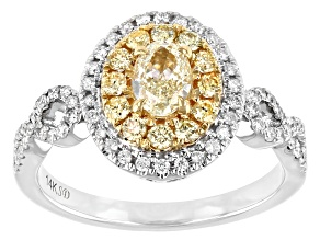 Natural Yellow And White Diamond 14K White Gold Cluster Ring 0.96ctw