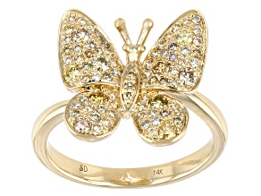 Multi-Color Diamond 14K Yellow Gold Butterfly Ring 0.55ctw