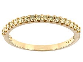 Natural Yellow Diamond 14k Yellow Gold Band Ring 0.23ctw