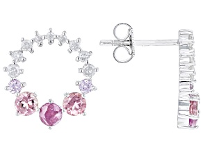 Pink Tourmaline, Mozambique Ruby, Pink Sapphire & White Diamond 14k White Gold Stud Earrings 1.12ctw