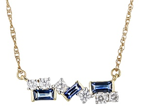 Blue Sapphire And White Diamond 14k Yellow Gold Bar Necklace 0.76ctw