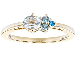 Blue Aquamarine, Swiss Blue Topaz, And Neon Blue Apatite 14k Yellow Gold Cluster Ring 0.40ctw