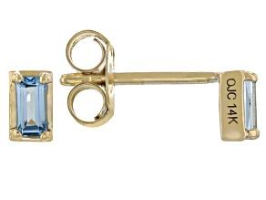 Swiss Blue Topaz 14k Yellow Gold Stud Earrings 0.30ctw