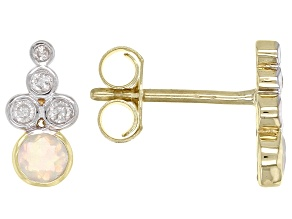White Opal And White Diamond Accent 14k Yellow Gold Earrings 0.24ctw