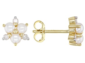 White Cultured Freshwater Pearl And  White Diamond 14k Yellow Gold Cluster Stud Earrings 0.13ctw