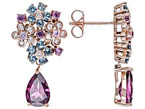 Grape Color Garnet, Topaz, Sapphire & Diamond 14k Rose Gold Cluster Dangle Earrings 4.27ctw