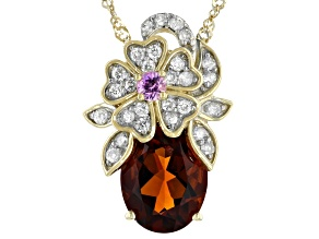 Madeira Citrine, White Diamond And Pink Sapphire 14k Yellow Gold Pendant With Chain 1.67ctw