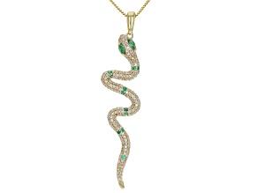 """White Diamond And Zambian Emerald 14k Yellow Gold Snake Pendant With 18"""" Box Chain 0.39ctw"""