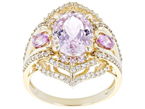 Pink Kunzite And Pink Sapphire With White And Champagne Diamond 14k Yellow Gold Ring 3.77ctw
