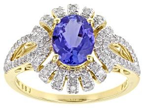 Blue Tanzanite And White Diamond 14k Yellow Gold Center Design Ring 2.45ctw