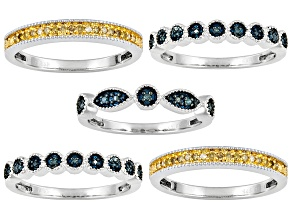 Womens Five Band Ring Set Blue Diamond Yellow Diamond .35ctw Sterling Silver