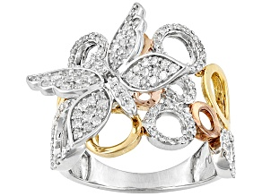 .75ctw Round Diamond 18k Yellow And Rose Gold & Rhodium Over Silver