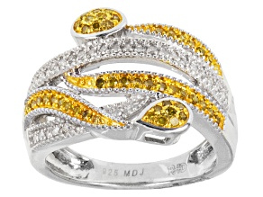 Yellow And White Diamond Sterling Silver Ring .33ctw