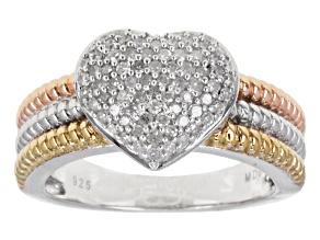 Diamond Three Tone Silver Ring .40ctw