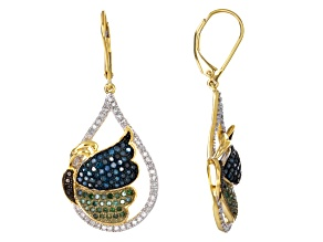 Multi-Color Diamond Earrings 18k Gold Over Silver 1.50ctw
