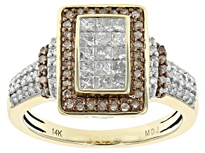 Champagne And White Diamond 14k Yellow Gold Ring .75ctw