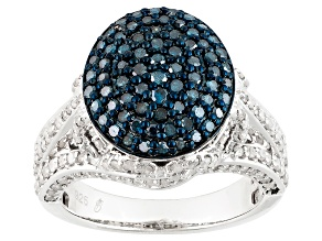 Blue And White Diamond Sterling Silver Ring 1.51ctw
