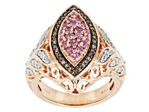 Pink Sapphire Champagne And White Diamond 18k Gold Over Silver Ring .96ctw