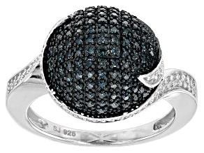 Blue And White Diamond Sterling Silver Ring .35ctw
